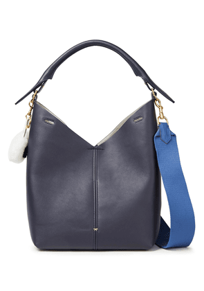 Anya Hindmarch Shearling-trimmed Leather Shoulder Bag Woman Indigo Size --
