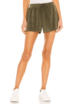 Pam & Gela Terry Gym Shorts in Olive. Size S, M, L.