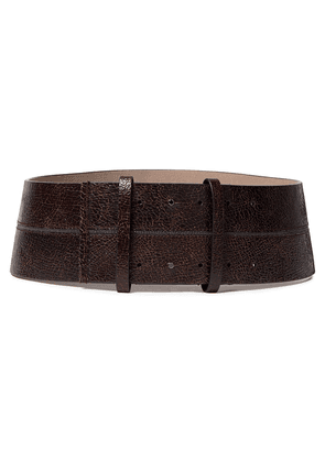 Brunello Cucinelli Bead-embellished Cracked-leather Waist Belt Woman Dark brown Size L