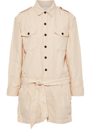 Current/elliott The Kaya Belted Cotton And Linen-blend Twill Playsuit Woman Cream Size 0