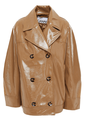 Ganni Double-breasted Faux Patent-leather Jacket Woman Brown Size 40