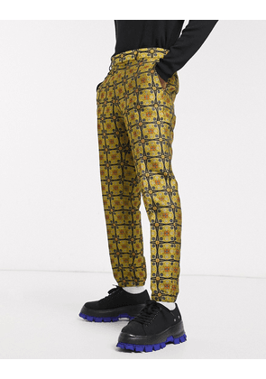 ASOS DESIGN slim smart trousers with jogger cuff in mustard geo jacquard-Brown