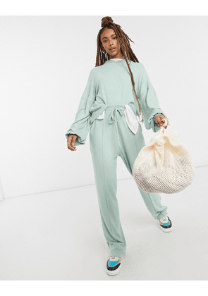 ASOS DESIGN fluffy hoodie tracksuit with straight leg jogger in mint-Green