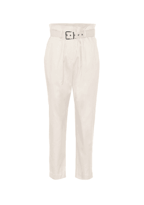 Belted stretch-cotton paperbag pants