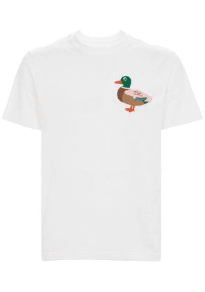 Cotton T-shirt W/embroidered Duck