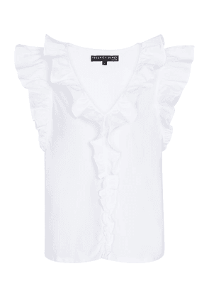 Stacie ruffled stretch-cotton top
