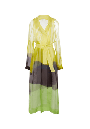 Printed belted silk tulle coat