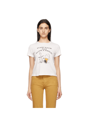 Re/Done White Peanuts Edition With A Smile T-Shirt