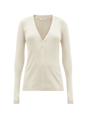 Co - V-neck Ribbed Silk Cardigan - Womens - Light Brown