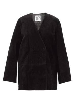 Totême - Oversized Double-breasted Suede Jacket - Womens - Black