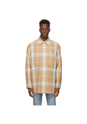 Solid Homme Beige and Blue Plaid Shirt