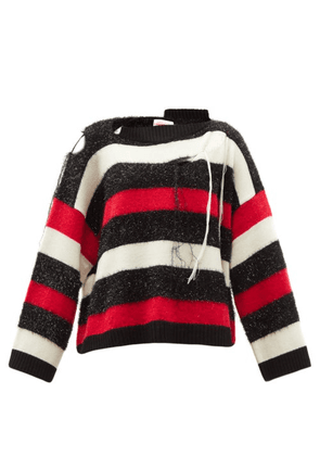 Charles Jeffrey Loverboy - Slashed Striped Sweater - Womens - Red Multi
