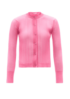 Cecilie Bahnsen - Felicity Semi-sheer Ribbed-knit Cardigan - Womens - Pink