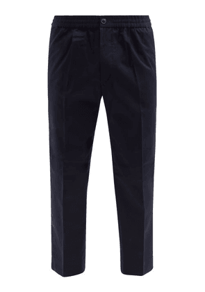 Ami - Cropped Cotton-twill Trousers - Mens - Navy
