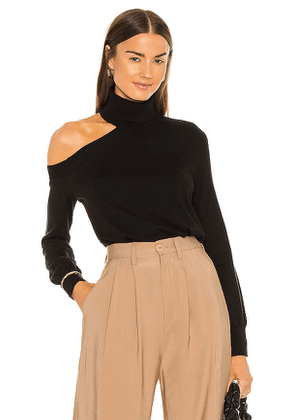 L'AGENCE Easton One Shoulder Sweater in Black. Size S, M.