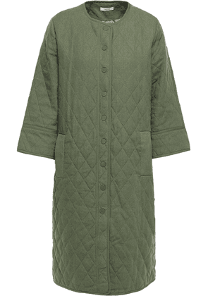 Ganni Camellia Quilted Linen And Cotton-blend Jacket Woman Army green Size 34
