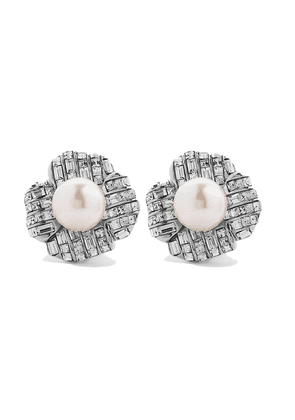 Kenneth Jay Lane Silver-tone, Crystal And Faux Pearl Clip Earrings Woman Silver Size --