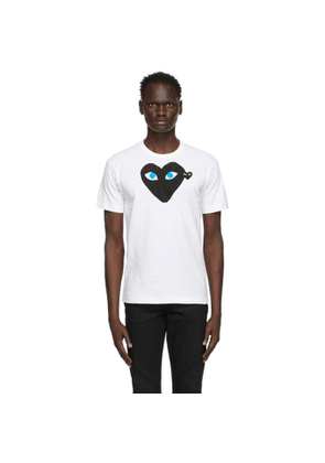 Comme des Garcons Play White and Black Big Double Heart T-Shirt