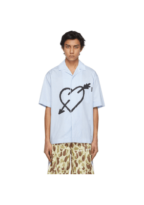 Palm Angels Blue and White Pieced Heart Short Sleeve Shirt