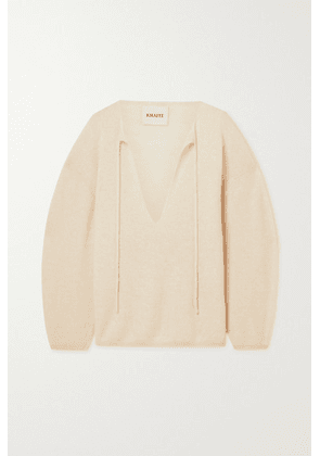 Khaite - Jamie Lynn Tie-detailed Cashmere Sweater - Cream
