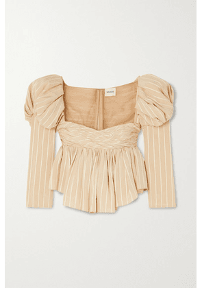 Khaite - Kim Ruched Striped Jacquard And Tulle Top - Cream