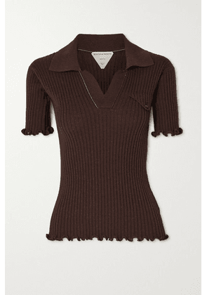 Bottega Veneta - Ruffled Ribbed Wool Polo Shirt - Brown