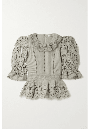 Ulla Johnson - Mildred Broderie Anglaise Linen And Cotton-blend Blouse - Gray green