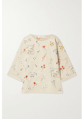 Tory Burch - Robinson Embellished Cotton-twill Top - Beige
