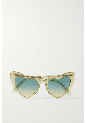SAINT LAURENT - Loulou Heart-shaped Acetate Sunglasses - Yellow