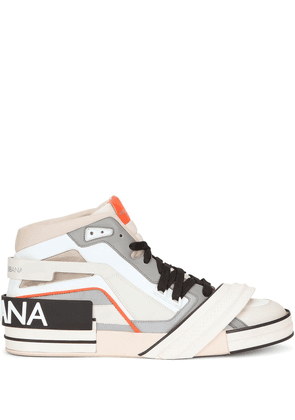 Dolce & Gabbana logo-patch panelled high-top sneakers - Neutrals