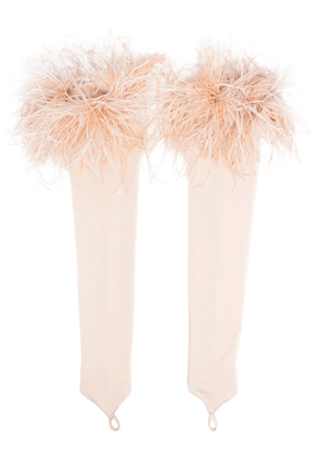 Loulou feather-trimmed fingerless gloves - Neutrals