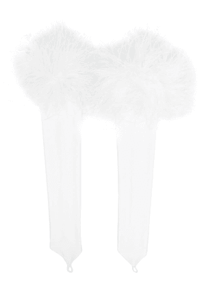 Loulou feather-trimmed fingerless gloves - White