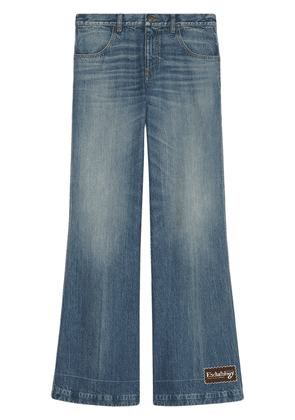 Gucci logo patch wide-leg jeans - Blue