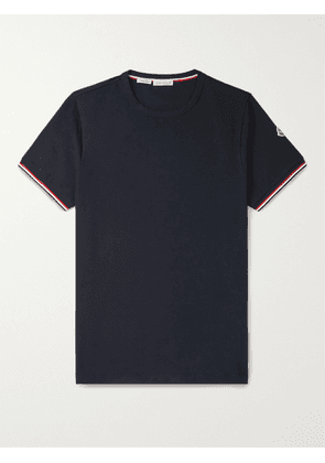 MONCLER - Contrast-Tipped Stretch-Cotton Jersey T-Shirt - Men - Blue - S