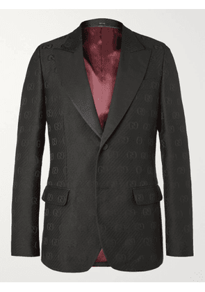 GUCCI - Faille-Trimmed Logo-Jacquard Wool and Silk-Blend Tuxedo Jacket - Men - Black - IT 48