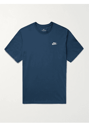 NIKE - Sportswear Club Logo-Embroidered Cotton-Jersey T-Shirt - Men - Blue - XS