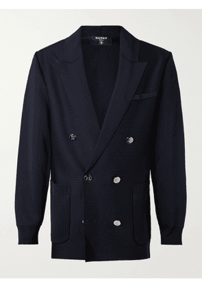 BALMAIN - Double-Breasted Knitted Blazer - Men - Blue - XS