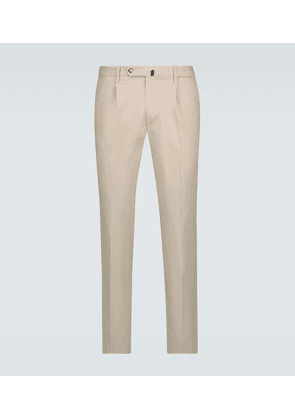 Slim-fit cotton-blend pants