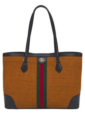 Md Ophidia Straw & Leather Tote Bag