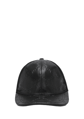 Gg Embossed Leather & Mesh Cap