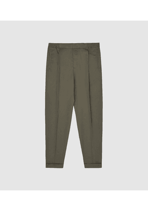 Reiss Ramsay - Pleat Front Tapered Trousers in Khaki, Mens, Size 30