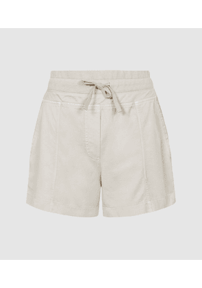 Reiss Dalila - Cotton Blend Casual Shorts in Neutral, Womens, Size 4