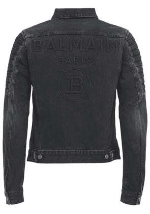 Logo Embossed Distressed Denim Jacket