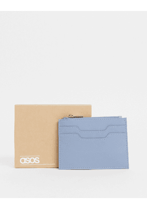ASOS DESIGN leather card holder with zip in light blue