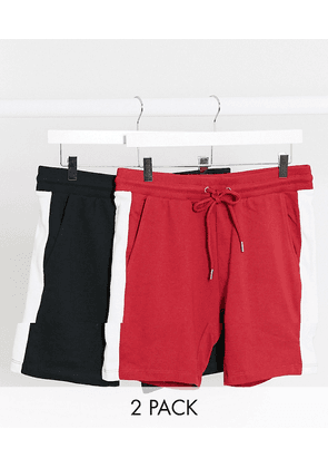 ASOS DESIGN jersey skinny shorts with side stripe 2 pack in black & red-Multi