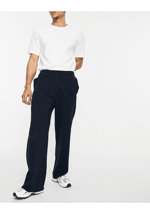 ASOS DESIGN milano knit wide leg joggers in navy