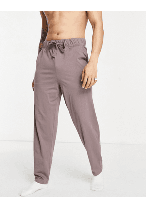 ASOS DESIGN relaxed lounge trousers in brown with drawcords