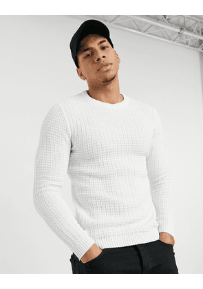 ASOS DESIGN muscle fit waffle knit jumper in white