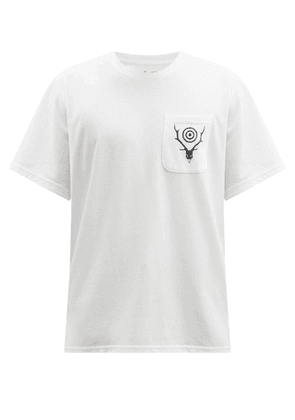 South2 West8 - Circle Horn-print Jersey T-shirt - Mens - White