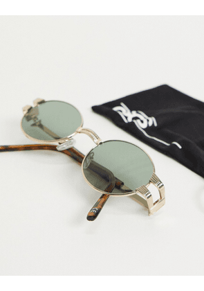 ASOS DESIGN round vintage style sunglasses in gold with metal detail